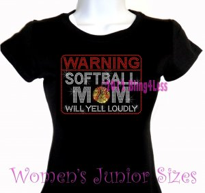 WARNING - Softball Mom - Iron on Rhinestone - Junior Fitted Black T-Shirt -Pick Size S-3XL