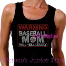 WARNING - Baseball Mom - Iron on Rhinestone - Junior Black TANK TOP - Pick Size S-3XL