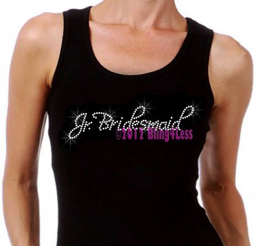 Jr. Bridesmaid - Iron on Rhinestone - Junior Black TANK TOP - Pick Size S-3XL - Bridal Bride Shirt