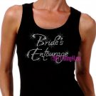 Bride's Entourage - Iron on Rhinestone - Junior Black TANK TOP - Pick Size S-3XL - Bridal Shirt