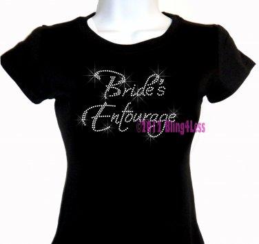 Bride's Entourage - Iron on Rhinestone - Junior Fitted Black T-Shirt - Pick Size S-3XL - Bridal