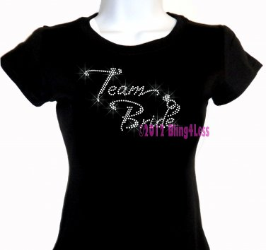 Team Bride - Diamond Ring - Iron on Rhinestone - Junior Fitted Black T-Shirt - Pick Size S-3XL