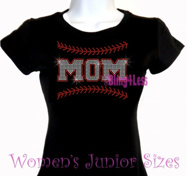 MOM - Baseball Stitching - Iron on Rhinestone - Junior Fitted Black T-Shirt -Pick Size S-3XL- Top