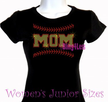MOM - Softball Stitching - Iron on Rhinestone - Junior Fitted Black T-Shirt -Pick Size S-3XL- Top