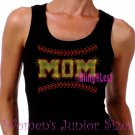 MOM - Softball Stitching - Iron on Rhinestone - Junior Black TANK TOP - Pick Size S-3XL - Shirt