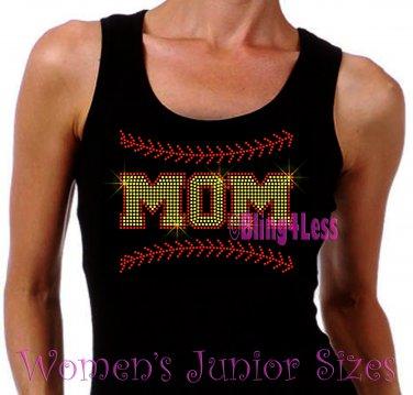 MOM - Softball Stitching - Iron on Rhinestone - Junior Black TANK TOP - Pick Size S-3XL - Shirt