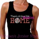 Baseball - There's No Place Like Home - Iron on Rhinestone - Junior Black TANK TOP - NS