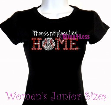 Baseball - There's No Place Like Home - Iron on Rhinestone - Junior Fitted Black T-Shirt - NS