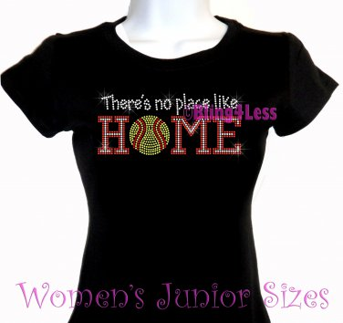 Softball - There's No Place Like Home - Iron on Rhinestone - Junior Fitted Black T-Shirt - NS