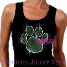 Large GREEN Paw Print - Iron on Rhinestone - Junior Black TANK TOP - Bling School Mascot Top