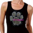 Large GOLD Paw Print - Iron on Rhinestone - Junior Black TANK TOP - Bling School Mascot Top