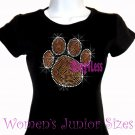 Large ORANGE Paw Print - Rhinestone Iron on - Junior Fitted Black T-Shirt - Bling School Mascot Top