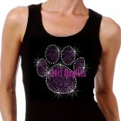 Large PURPLE Paw Print - Iron on Rhinestone - Junior Black TANK TOP - Bling School Mascot Top