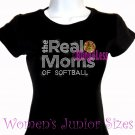The Real Moms of - SOFTBALL - Iron on Rhinestone - Junior Fitted Black T-Shirt - Sports Mom Top