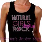 Natural Girls Rock - Neon Pink - Iron on Rhinestone - Junior Black TANK TOP - Bling Hair Shirt