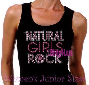 Natural Girls Rock - Neon Pink - Iron on Rhinestone - Junior Black TANK TOP - Bling Hair Shirt