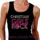Christian Girls Rock - Neon Pink - Iron on Rhinestone - Junior Black TANK TOP - Bling Jesus Shirt