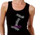 FOOTBALL - Lace Outline - Iron on Rhinestone - Junior Black TANK TOP - Sports Mom Shirt
