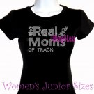 The Real Moms of - TRACK - Iron on Rhinestone - Junior Fitted Black T-Shirt - Sports Mom Top