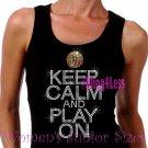 Keep Calm and Play On - BASKETBALL - Iron on Rhinestone - Junior Black TANK TOP - Sports Mom Shirt