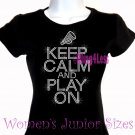 Keep Calm and Play On - CHEER - Iron on Rhinestone - Junior Fitted Black T-Shirt - Sports Mom Top