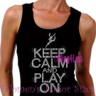 Keep Calm and Play On - DANCE - Iron on Rhinestone - Junior Black TANK TOP - Sports Mom Shirt