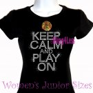 Keep Calm and Play On - SOFTBALL - Iron on Rhinestone - Junior Fitted Black T-Shirt - Sports Mom Top