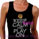 Keep Calm and Play On - SOFTBALL - Iron on Rhinestone - Junior Black TANK TOP - Sports Mom Shirt