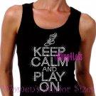 Keep Calm and Play On - TRACK - Iron on Rhinestone - Junior Black TANK TOP - Sports Mom Shirt