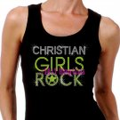 Christian Girls Rock - Neon Yellow - Iron on Rhinestone - Junior Black TANK TOP - Bling Jesus Shirt