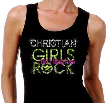 Christian Girls Rock - Neon Yellow - Iron on Rhinestone - Junior Black TANK TOP - Bling Jesus Shirt
