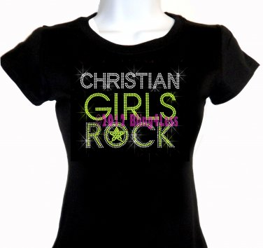 Christian Girls Rock - Neon Yellow - Iron on Rhinestone - Junior Fitted Black T-Shirt -Bling Top
