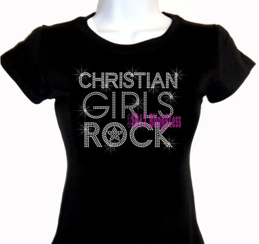 Christian Girls Rock - SILVER - Iron on Rhinestone - Junior Fitted Black T-Shirt -Bling Jesus Top