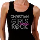Christian Girls Rock - SILVER - Iron on Rhinestone - Junior Black TANK TOP - Bling Jesus Shirt
