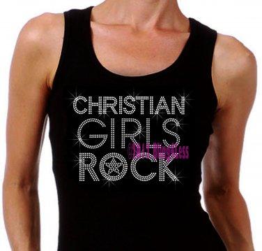 Christian Girls Rock - SILVER - Iron on Rhinestone - Junior Black TANK TOP - Bling Jesus Shirt