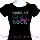 Christian Girls Rock - TURQUOISE - Iron on Rhinestone - Junior Fitted Black T-Shirt -Bling Jesus Top