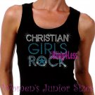 Christian Girls Rock - TURQUOISE - Iron on Rhinestone - Junior Black TANK TOP - Bling Jesus Shirt