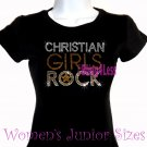 Christian Girls Rock - GOLD - Iron on Rhinestone - Junior Fitted Black T-Shirt -Bling Jesus Top