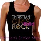 Christian Girls Rock - GOLD - Iron on Rhinestone - Junior Black TANK TOP - Bling Jesus Shirt