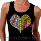 Large Split Sports Heart -Baseball Softball- Iron on Rhinestone - Junior Black TANK TOP - Shirt