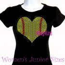 Large Softball Heart - Iron on Rhinestone - Junior Fitted Black T-Shirt - Sports Mom Top