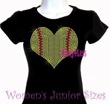 Large Softball Heart - Iron on Rhinestone - Junior Fitted Black T-Shirt - Sports Mom Top