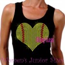 Large Softball Heart - Iron on Rhinestone - Junior Black TANK TOP - Sports Mom Shirt