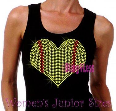 Large Softball Heart - Iron on Rhinestone - Junior Black TANK TOP - Sports Mom Shirt