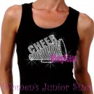 Cheer Megaphone - CLEAR - Iron on Rhinestone - Junior Black TANK TOP - Sports Mom Shirt