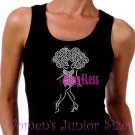 Lady Standing - CLEAR - Iron on Rhinestone - Junior Black TANK TOP - Natural Hair Afro - Shirt