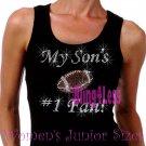 My Son's #1 Fan - FOOTBALL Mom - Iron on Rhinestone - Junior Black TANK TOP - Sports Mom Shirt