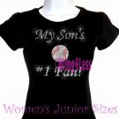 My Son's #1 Fan - BASEBALL Mom - Iron on Rhinestone - Junior Fitted Black T-Shirt - Sports Mom Top