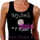 My Son's #1 Fan - BASEBALL Mom - Iron on Rhinestone - Junior Black TANK TOP - Sports Mom Shirt