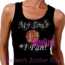 My Son's #1 Fan - BASKETBALL Mom - Iron on Rhinestone - Junior Black TANK TOP - Sports Mom Shirt